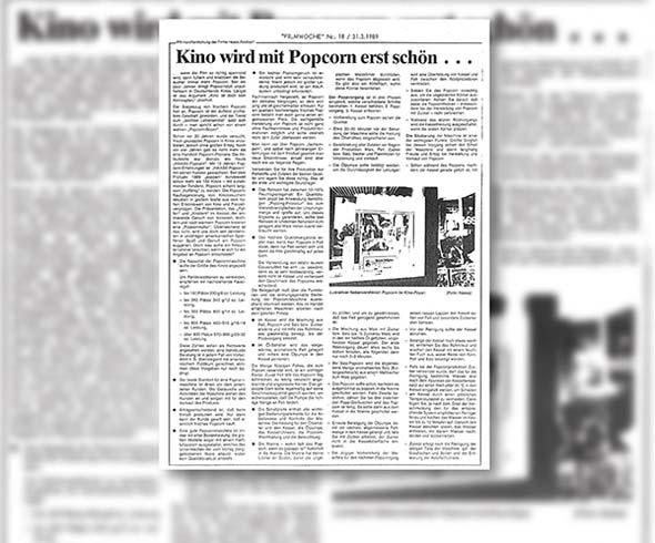 Der erste PR-Artikel von Haase Food in der Filmecho/Filmwoche, 1989