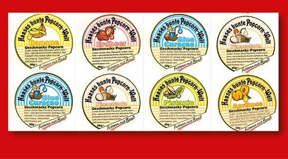 Sortenvielfalt: Unterschiedliche Etiketten für Gourmet-Popcorn.