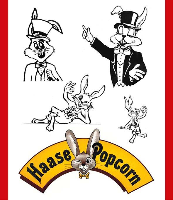Logo-Entwicklung von Haase Popcorn von 1975 bis 1985