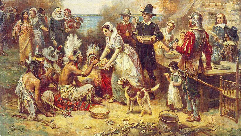 """Erstes Erntedankfest in Neuengland (1621) mit Massasoit oder """"Gelbe Feder"""" (1580 – 1662), Häuptling der Wampanoag. Künstler: Jean Leon Jerome Ferris, USA"""