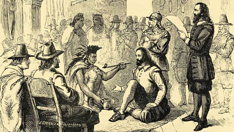 Popcorn als Geschenk und Zeichen des guten Willens: Friedensverhandlung mit Häuptling Massasoit und Gouverneur John Carver, ca. 1621.