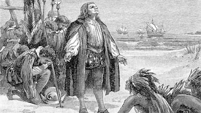 Christoph Kolumbus erreicht nach ca. 39 Tagen Reise 1492 Amerika. Radierung, Natural Elementary Geography, Redway and Hinman, 1897. Foto: istockphoto