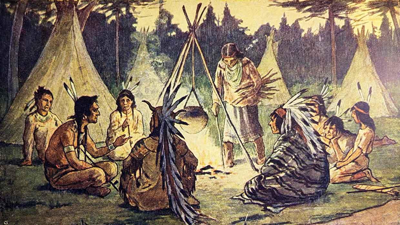 Ein Topf auf offenem Feuer reichte aus, um Popcorn herzustellen. Illustration: The Hiawatha Primer, 1898. Foto: istockphoto