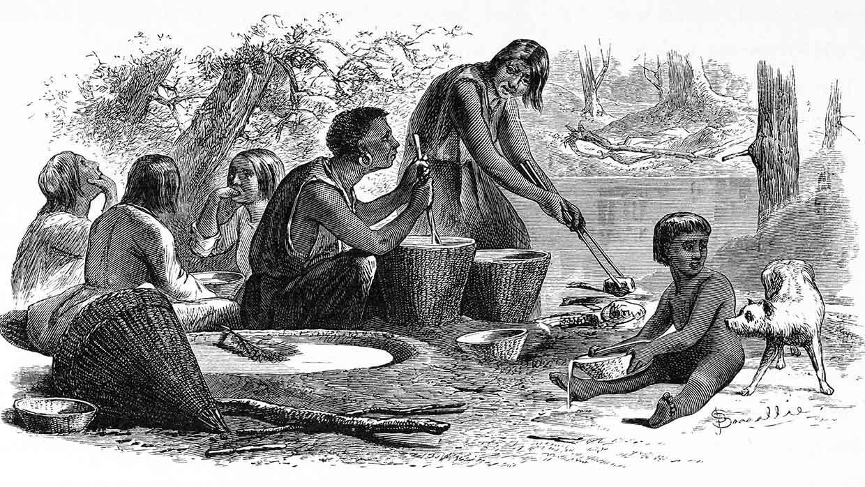 Amerikanische Ureinwohner machen Schmuck aus Popcorn, Yosemite Valley, Kalifornien. Radierung, 1872. Foto: istockphoto
