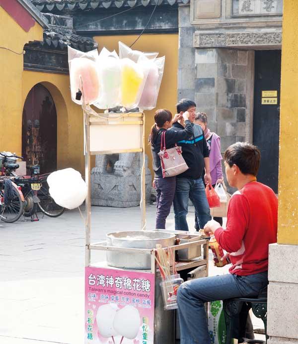 Kleiner Zuckerwatte-Stand, Chengdu, China, 2010