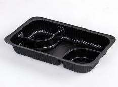 Nacho Kunststoffschalen mit 3 Fächer schwarz 15 x 11,5 cm 300 Stück