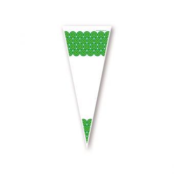 Poly Spitzbeutel mit grünen Kreisen 14 x 35 cm - VPE 1.000 Stück