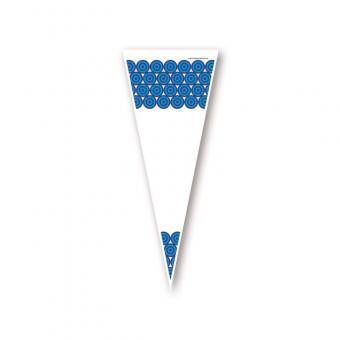 Poly Spitzbeutel mit blauen Kreisen 14 x 35 cm - VPE 1.000 Stück