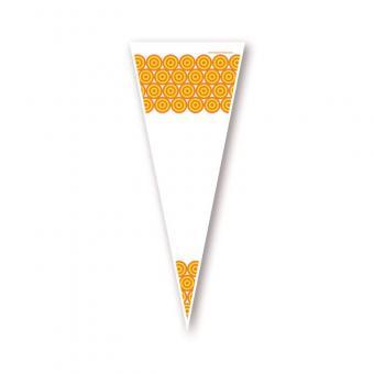 Poly Spitzbeutel mit gelben Kreisen 18 x 37 cm - VPE 1.000 Stück