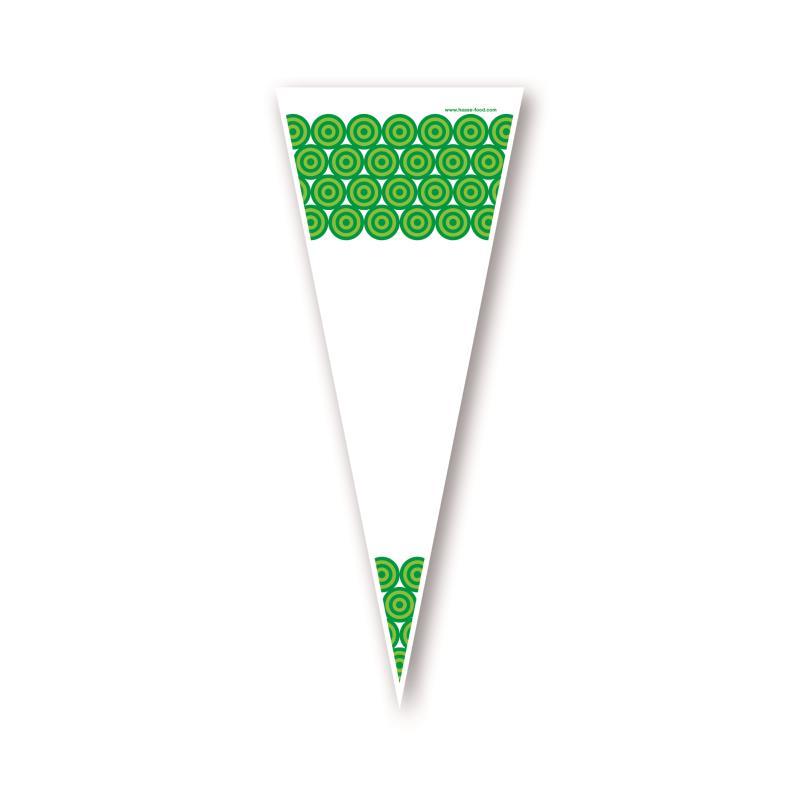 Poly Spitzbeutel transparent Kreise grün 18 x 37 cm 1.000 Stück geblockt zu 100 Stück mit Abreißperforation