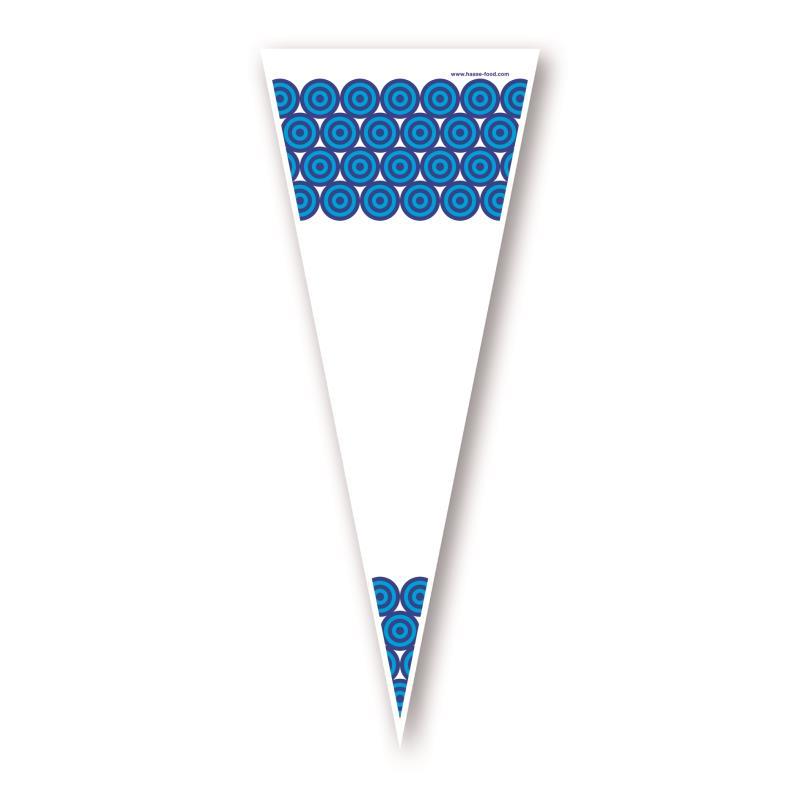 Poly Spitzbeutel mit blauen Kreisen 25 x 46 cm - VPE 500 Stück