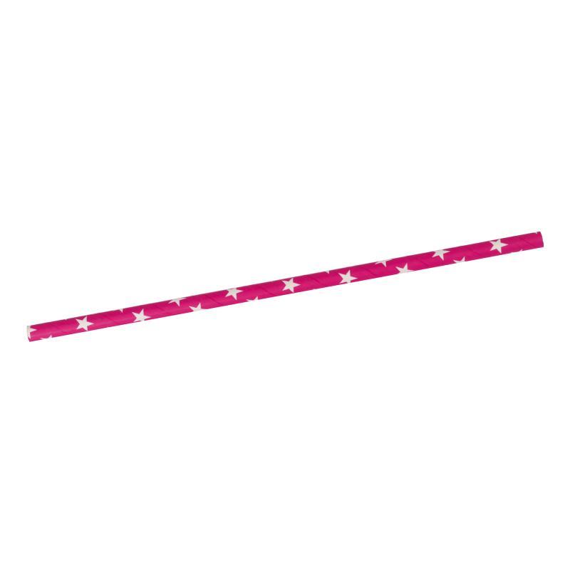 Papier Trinkhalme pink + weiße Sterne