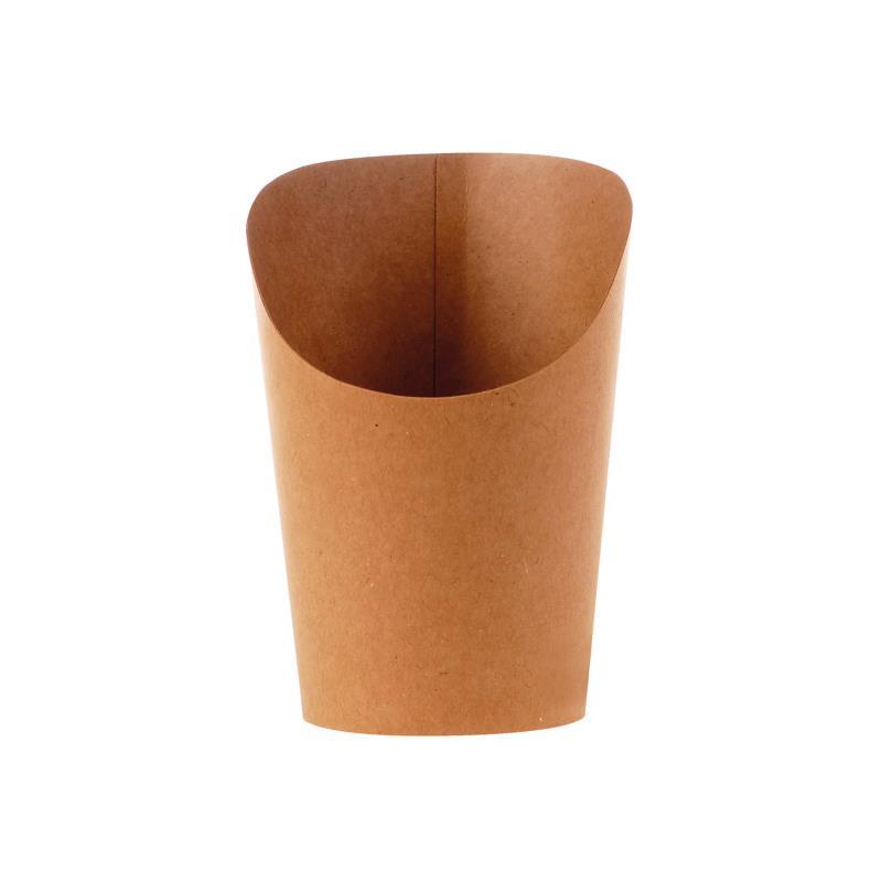 Snackbecher für z.B. Bubble Waffel, Wraps - braun / Größe S Hartpapier, innen PE-beschichtet  VPE: 1.000 Stück