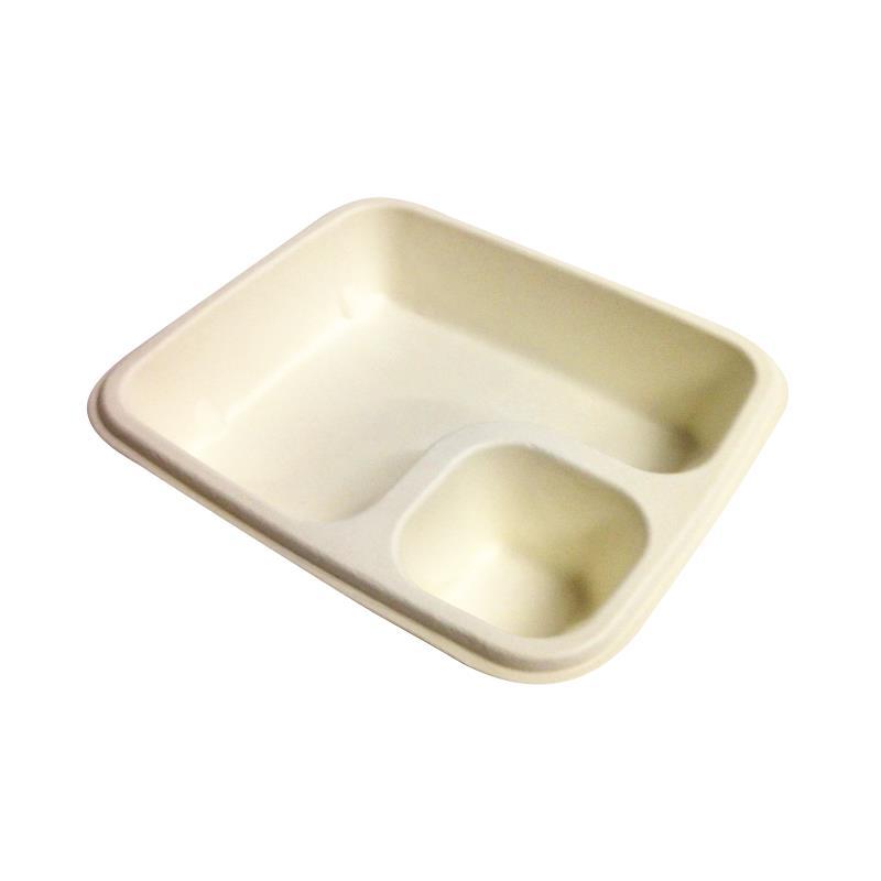BIO Nachoschalen mit Dip-Fach - groß/beige 500 Stück Maße: 190 x 170 x 40mm